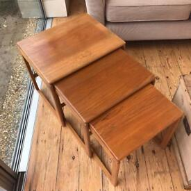 Antique Mid Century G Plan Solid Teak Wooden Nest Of 3 Side Tables (Eames Style)