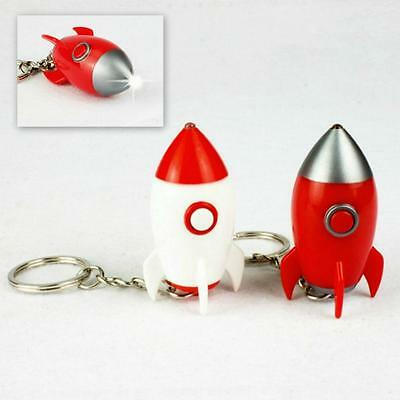 SET OF 2 ROCKET KEYCHAINS w LIGHT SOUND Red and White Missile Toy Key Chain Ring