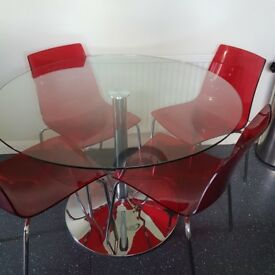 GLASS TOP HABITAT TABLE & 4 RED CHAIRS