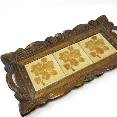 Vintage 70s Wooden Carved Ceramic Brown Leaf Tile Serving Tray Wood Handles
