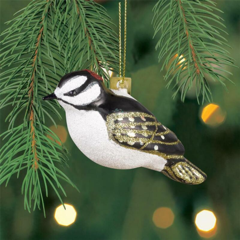 Margaret Cobane Studios Blown Mercury Glass Bird Ornament Downy Woodpecker Xmas
