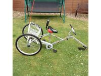 "Mission Piggyback MkII Adult Trailer Trike. 24"" wheels. Basket, flag and saddle seat with back rest."
