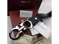 Silver big buckle black double gancino leather mens belt ferragamo stylish sleek jeans boxed