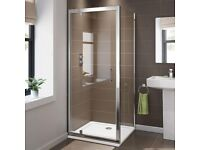 BRAND NEW 800 x 800 Pivot Hinge 6mm Glass Shower Enclosure Reversible Cubicle Door Side + Tray