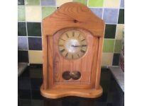 Antiqued finish pine mantel clock
