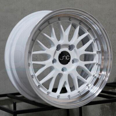 18x10 JNC 005 5x114.3 25 White Machine Lip Wheel Rims set(4)