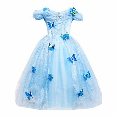 Cinderella Child Costume (Cinderella Princess#2 Butterfly Party Dress kids Costume Dress for girls 2-10)