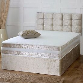 CRUSHED VELVET DIVAN BED + MEMORY MATTRESS + HEADBOARD 3FT 4FT 4FT6 Double 5FT 6FT SUPER KING