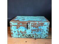 Antique Indian Rustic Wooden Trunk, Vintage Artists Writing Box Chest Blue Green