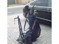 Set of golf clubs bag trolley and golf shoes second hand plus lots of balls