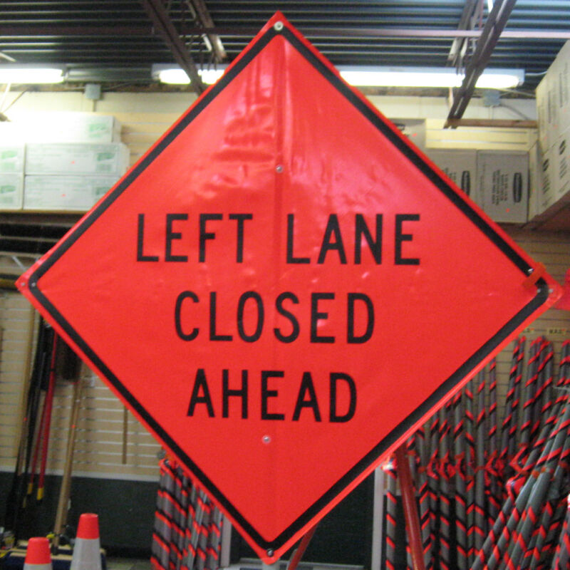 """Left Lane Closed Ahead Sign Fluorescent Vinyl with Ribs 48""""x 48"""""""