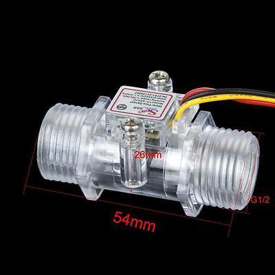 "Clear G1/2"" Water Flow Hall Sensor Switch Flow Meter Flowmeter Counter 1-30L/min"