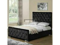🔵💖🔴LUXURY AND COMFORT🔵💖🔴DOUBLE CHESTERFIELD BED CRUSHED VELVET FABRIC WITH MATTRESS OPTIONS