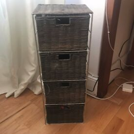 Brown wicker 4 draw storage tower