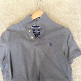 Men's Grey Abercrombie & Fitch Polo T-Shirt - Size Large - Muscle Fit