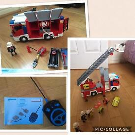 Two Playmobil Fire engines AND a remote control module set