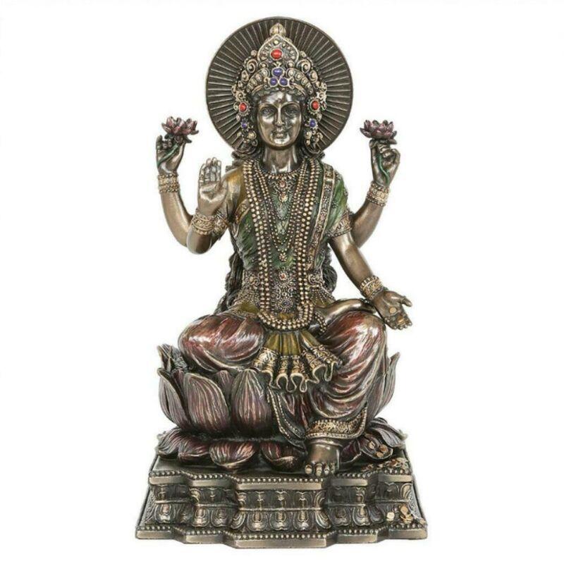 "LAKSHMI STATUE 8"" Hindu Wealth Goddess High Quality Bronze Resin Laxmi"
