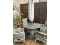 Rattan garden furniture set with cover and umbrella