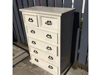 Chalk painted real wood chest of drawers
