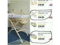 Argos pink colored moses basket with stand