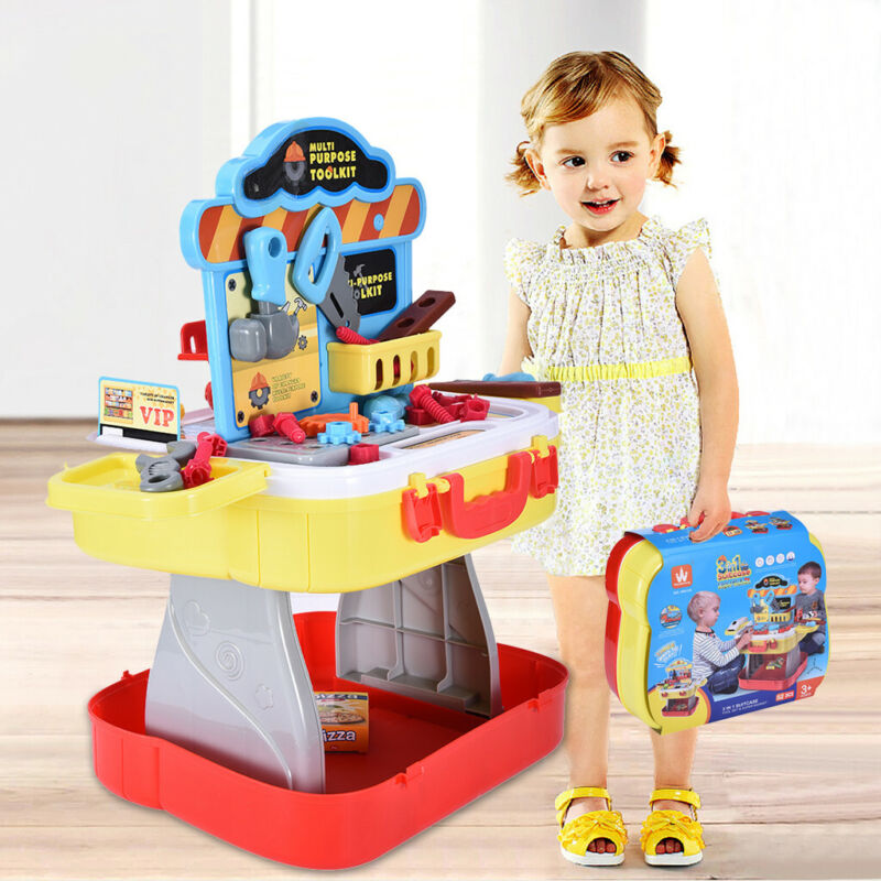 3 in 1Workbench Toy For Kids Construction Portable Work Benc