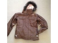 TNF LADIES SNOW JACKET BROWN PLAID XS