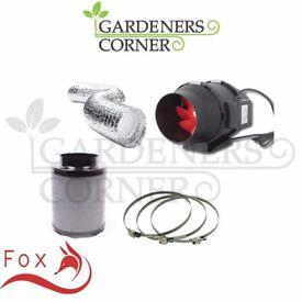 "Hydroponics Fox Carbon Filter Twin Speed Extractor Fan Kit 125mm 5"" Grow Set"