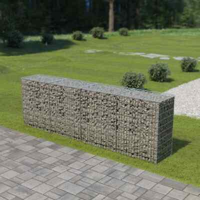 vidaXL Gabion Wall with Covers Galvanised Steel 300x50x100cm Stone Basket Cage