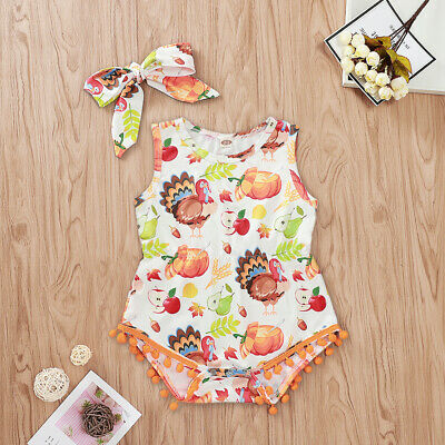 US Toddler Baby Girl Thanksgiving & Halloween Clothes Romper Cotton Jumpsuit Set