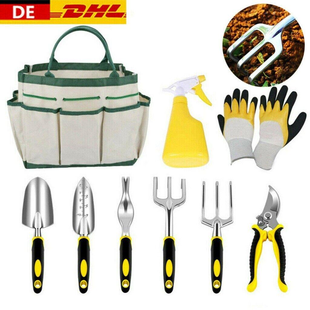 DE 9Pcs Edelstahl Gartenarbeit Pflanzung Grabwerkzeug Set Gartenhandgabelkelle
