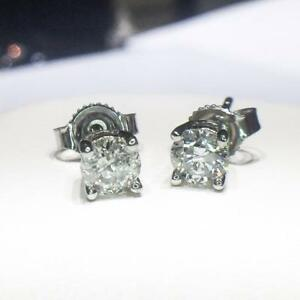 Huge Discount 14K White Gold Certified Canadian Mined Round Brilliant Cut Diamond Studs