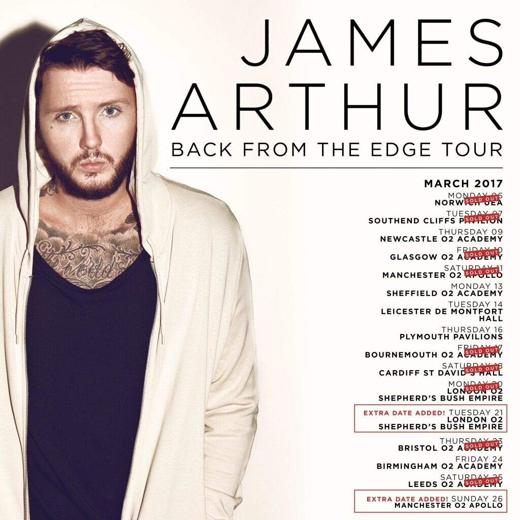 2x James Arthur standing tickets, O2 Newcastle Academy, Thursday 9th March 2017