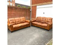 Superb 2 X 3 Seater Distressed Real Leather Sofa ( Free Delivery )