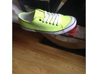 "Genuine Ralph Lauren ""Polo"" flourescent yellow trainers size uk 6"