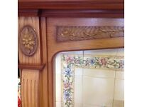 Fireplace in Antique Oak with Tiles