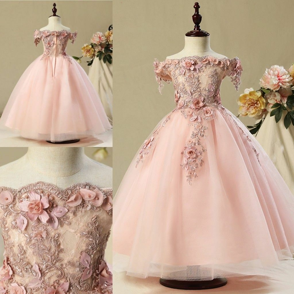 f61bb726d Details about Flower Girl Dresses Lace Bead Pearls Off Shoulder Princess  Pageant Gowns