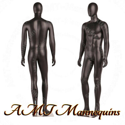 Male Full Body Black High End Mannequinsmetal Stand Removable Egg Head