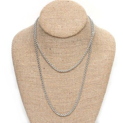 """New DAVID YURMAN 3mm Sterling Silver 36"""" Wheat Chain Necklace NWT"""