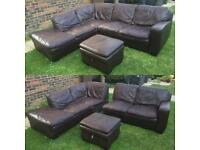 Brown corner leather sofa matching foot stool can deliver