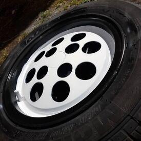ford pepper pot alloy wheel. good tyre. 4mm-5mm xr2 capri fiesta