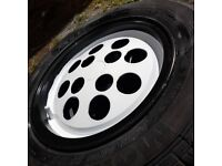 ford pepper pot alloy wheel. good tyre. 4mm-5mm xr2 capri fiesta