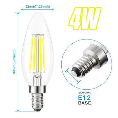 - 120VAC 4W Warm White COB LED E12 Base Candelabra Candle Chandelier Light Bulb