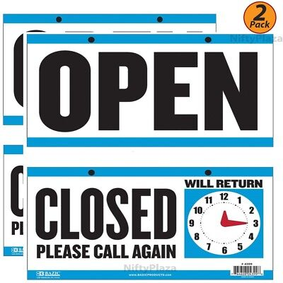 2 Pack - Open Sign Closed Sign With Clock On The Back 6x11.5 Durable Plastic
