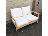 IKEA LILLBERG 2 Seater Sofa Wooden Recliner Folding Off-White Cushions
