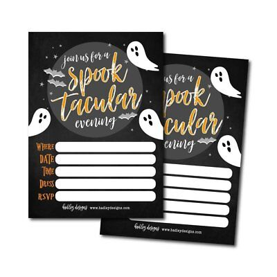 25 Ghost Halloween Party Invitation Cards for Kids Adults, Vintage Birthday... - Halloween Invitations For Kids