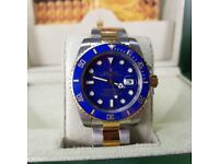 NEW!! Rolex Submariner, TwoTone with blue face & ceramic bezel. Includes box, bag & paperwork. £140