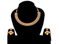 Wedding Designer Polki Necklace Earrings Gold Plated Indian Jewelry Fashion Set