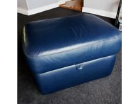 "Blue Leather Italian foot stool. 29"" W X 23""D X 18"" H. Good condition. Collection ONLY."