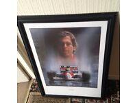 Pic inc frame of 3 time world champion Aryton Senna