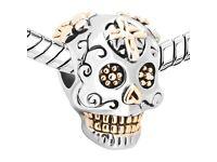 "Gold Silver Plated Skeleton Skull Charm ""Dia De Los Muertos"" fit Pandora"